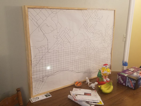 the bus tracker map sitting on a table